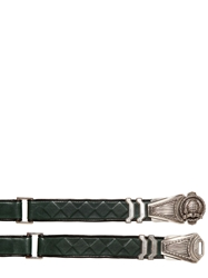 Balmain 3Cm Metal Buckle Leather Belt Green
