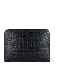 Croc Embossed Zip Folder Unisex Black