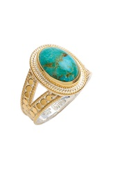 Anna Beck Oval Stone Split Ring Gold Turquoise