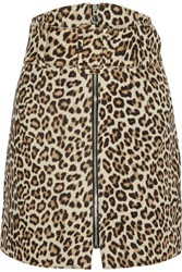 Carven Leopard Print Felted Wool Blend Mini Skirt Animal Print