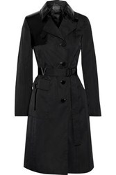 Versace Woman Belted Patent Leather Trimmed Shell Trench Coat Black