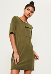 Missguided Khaki Ring Pocket Shift Dress Black