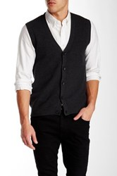 Perry Ellis Front Button Knit Vest Gray