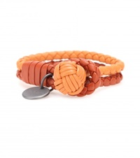Bottega Veneta Knot Woven Leather Bracelet Orange