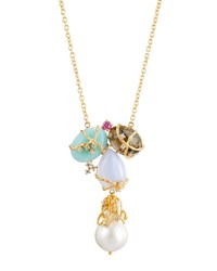 Indulgems Multi Gemstone And Baroque Pearl Cluster Pendant Necklace