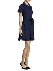Shoshanna Cutout Trimmed Shirt Dress Navy
