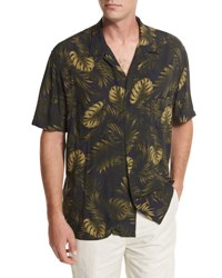 Vince Leaf Print Short Sleeve Cabana Shirt Navy