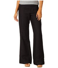 Three Dots Long Flare Linen Pant Black Women's Casual Pants