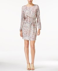 Armani Exchange Belted Printed Dress Off White