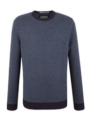Racing Green Bexley Contrast Detail Crew Neck Knit Blue