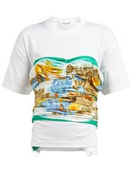 Junya Watanabe Silk Satin Panelled Cotton T Shirt White Multi