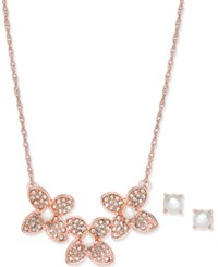 Charter Club Rose Gold Tone Pave And Imitation Pearl Flower Statement Necklace And Stud Earrings Set Created For Macy's