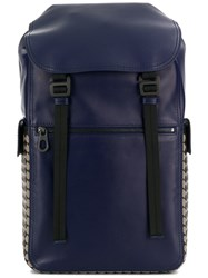 Bottega Veneta Intrecciato Checker Backpack Blue