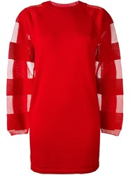 Maison Martin Margiela Mm6 Semi Sheer Sleeve Sweater Dress Red