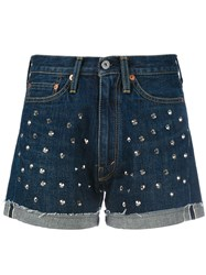 Comme Des Garcons Junya Watanabe Studded Denim Shorts Blue