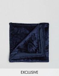 Noose And Monkey Crushed Velvet Pocket Square Navy