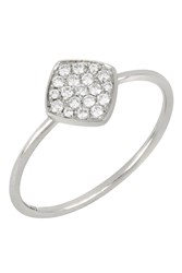 Bony Levy 18K White Gold Pave Diamond Geo Stacking Ring Size 6.5 0.14 Ctw