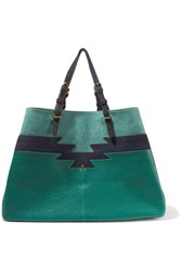 Jerome Dreyfuss Maurice Leather And Suede Tote Green
