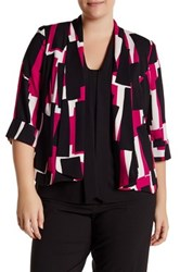 Kasper Printed Shawl Collar Blazer Plus Size Multi