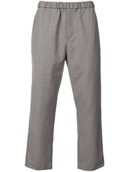 Oamc Plain Cropped Trousers Grey