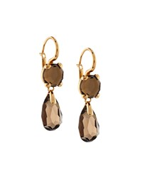 Chopard 18K Rose Gold Smoky Quartz Double Drop Earrings Women's