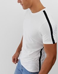 Selected Homme T Shirt With Side Stripe White