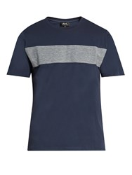 A.P.C. Panelled Cotton Jersey T Shirt Navy Multi