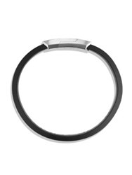 David Yurman Forged Carbon Sterling Silver And Leather Bracelet Black