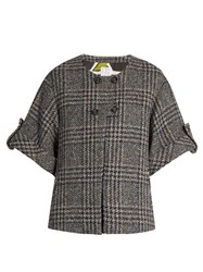 Stella Jean Prince Of Wales Checked Cropped Jacket Grey Multi