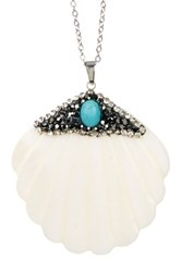 Leila Rhinestone Embellished Shell Pendant Necklace Metallic