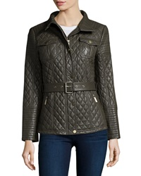 Neiman Marcus Quilted Leather Barn Coat
