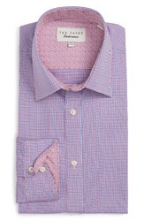 Ted Baker Men's Big And Tall London Pacific Trim Fit Check Dress Shirt Pink