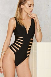 Nasty Gal Side Piece Strappy Swimsuit