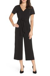 Charles Henry Belted Crop Jumpsuit Black