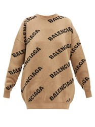 Balenciaga Logo Wool Blend Jacquard Sweater Beige Multi