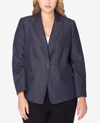 Tahari By Arthur S. Levine Asl Plus Size Denim Blazer Chambray