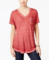 Styleandco. Style Co. V Neck Burnout Pocket Tee Only At Macy's Deep Scarlet