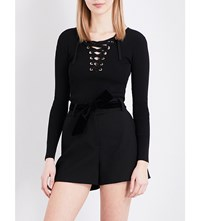 Maje Matana Lace Up Knitted Jumper Black