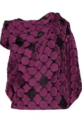 Roland Mouret Eugene Open Back Draped Fil Coupe Cotton And Silk Blend Top Plum
