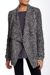 Chaus Long Sleeve Cable Knit Marled Cardigan Black