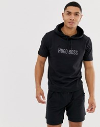 Boss Bodywear Short Sleeve Logo Hoodie In Black