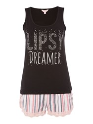 Lipsy Dreamer Vest And Stripe Short Pj Set Black