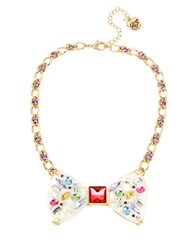 Betsey Johnson Multicolor Stone Bow And Pearl Necklace