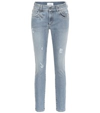 Givenchy Distressed High Rise Skinny Jeans Blue