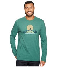 Life Is Good Hike Vista Long Sleeve Crusher Tee Heather Forest Green Long Sleeve Pullover Blue