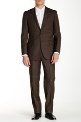 English Laundry Brown Plaid Two Button Notch Lapel Wool Suit