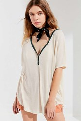 Out From Under Contrast Trim Relaxed Henley Top Neutral Multi