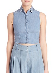 Alice Olivia Lea Sleeveless Chambray Cropped Top