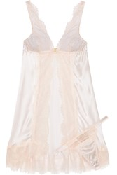 Mimi Holliday Oyster Whippy Lace And Stretch Silk Satin Babydoll Set Pink