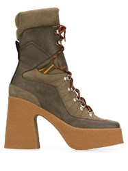 Stella Mccartney Platform Lace Up Boots Green